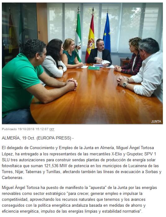 Screenshot_2018-10-22 Junta autoriza la construcción de tres plantas de energía solar fotovoltaica a X-Elio y Grupotec(2)