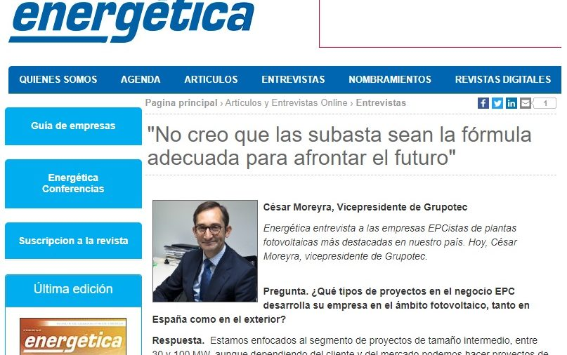 ENERGÉTICA: Interview with the Spain's most remarkable photovoltaic EPC contractors
